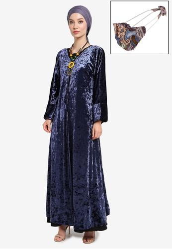 Yans Creation blue Velva Long Cardigan with Free Selendang and Reusable Face Mask 6E3CFAA86E6B1DGS_1