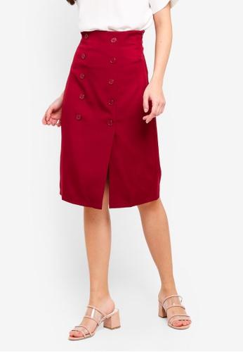 ZALORA 紅色 雙鈕釦裙 E8A65AA1DB14F9GS_1