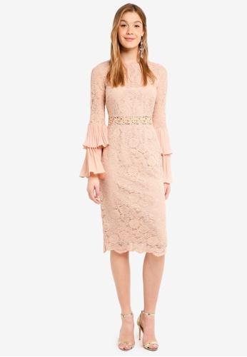 True Decadence beige Long Sleeve Lace Dress 30541AA85A0053GS_1