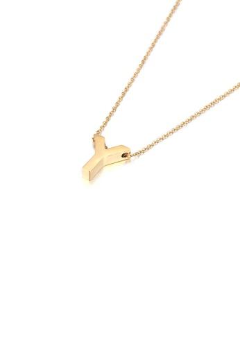 Glamorousky 銀色 簡約個性鍍金色英文字母Y 316L鋼吊墜配項鏈 C4DE4AC92C8DEBGS_1
