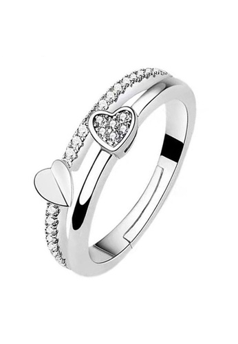 YOUNIQ silver YOUNIQ Twin Heart CZ Diamond ROM Engagement Wedding Adjustable Silver Ring 86A7AACF4AB128GS_1