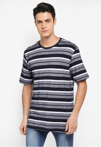 MANGO Man blue and navy Striped Cotton T-Shirt DAE8FAA2F87302GS_1