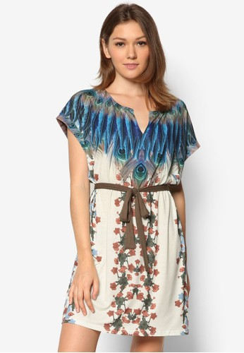 Marysol 印花腰帶連身裙, 服esprit 內衣飾, 夏日洋裝