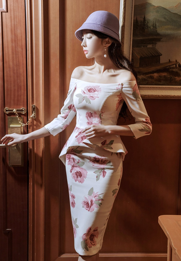 One Shoulder Floral Peplum Piece Sunnydaysweety 2018 Off CA031418 Multi New Dress UZxPInA