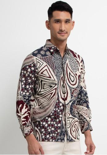 Le Viel Batik red Aria Shirt C2359AABAF8BD4GS_1