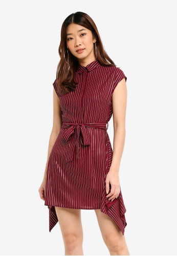 Something Borrowed red Hem Detail Button Down Dress 70194AA7295B3BGS_1