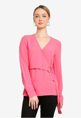 WAREHOUSE pink O-Ring Wrap Top 874ABAA373F99CGS_1