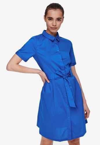 JACQUELINE DE YONG blue Millie Tie Belt Shirt Dress 4F23FAA9D99383GS_1