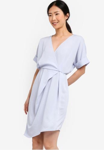 ZALORA BASICS blue Basic Asymmetrical Gathered Wrap Dress ACC98AAE6E1A78GS_1