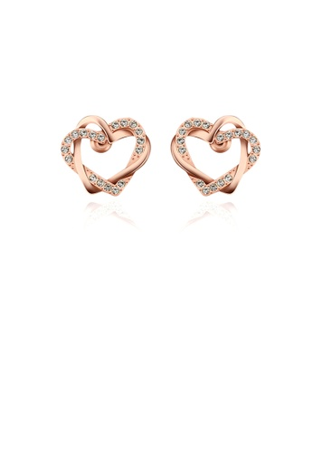 Glamorousky white Simple Romantic Plated Rose Gold Heart Stud Earrings with Austrian Element Crystal D949FACBE4E039GS_1