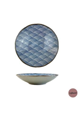 &glazed white and blue &Glazed Seigaiha 8.3-inch Medium Round Plate E706DHL3FE1867GS_1