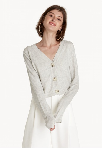 03c1ce5a53 Buy Pomelo Cropped V Neck Cardigan - Light Grey Online on ZALORA ...