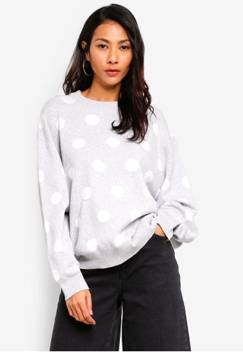 OVS grey Polka Dot Cotton-Viscose Pullover 3B6A9AA8DB0BDEGS_1