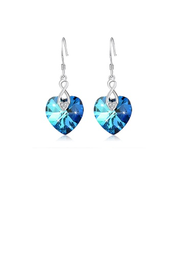 Glamorousky blue 925 Sterling Silver Fashion and Elegant Blue Heart-shaped Cubic Zirconia Earrings 608ACACBE68842GS_1
