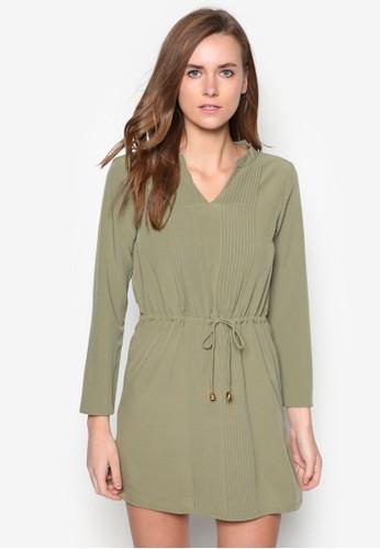褶藝束腰長袖連身裙,zalora鞋子評價 服飾, 洋裝