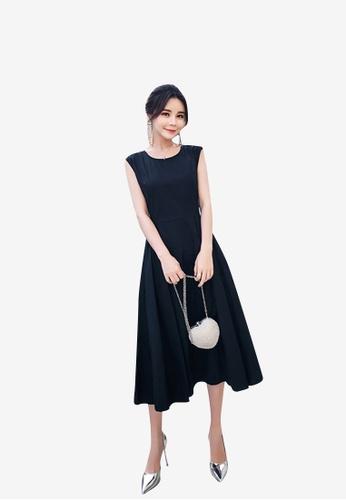 b2355b78543 hk-ehunter black Sleeveless and Backless Solid Coloured A-Line Midi Dress  79951AACE98686GS 1