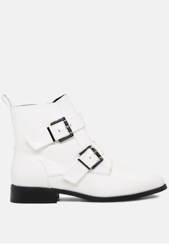 London Rag white Strappy Wide Fit Ankle Boots with Buckles SH1780 5033CSH3CC9D92GS_1