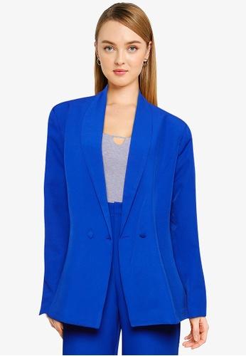 Public Desire blue Oversized Button Detail Oversized Blazer FCA50AA0F1B6BCGS_1