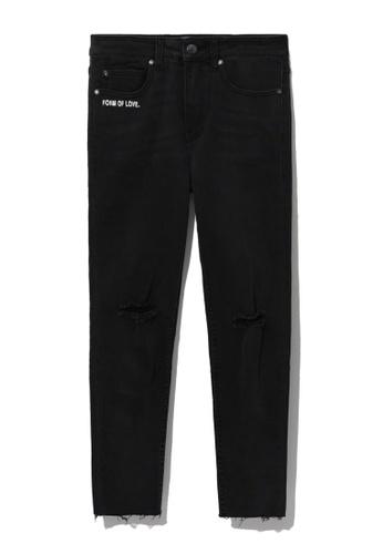 izzue black Distressed cuffed jeans D8B22AA68B4F29GS_1