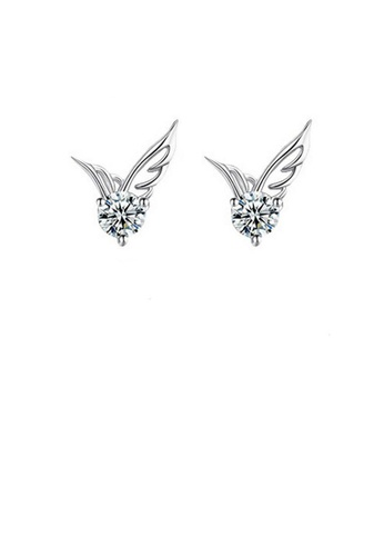 Glamorousky white Simple Angel Wing Stud Earrings with White Austrian Element Crystal 30DD4ACD4F5300GS_1