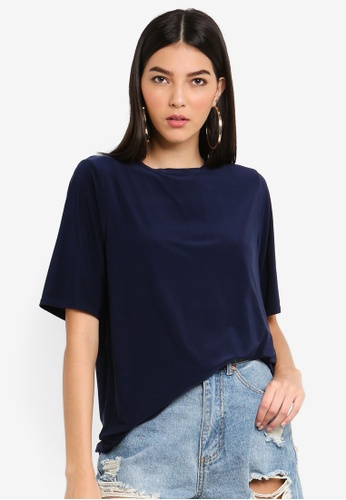 MISSGUIDED navy Soft Touch Oversized T-shirt B6151AA35393F1GS_1