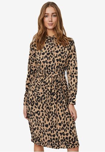 Vero Moda 米褐色 Sally Long Sleeve Corduroy Shirt Dress BBE24AA00716C1GS_1