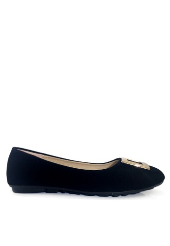 Twenty Eight Shoes 黑色 簡約方扣平底鞋 VL1322 C30EDSHCF29759GS_1