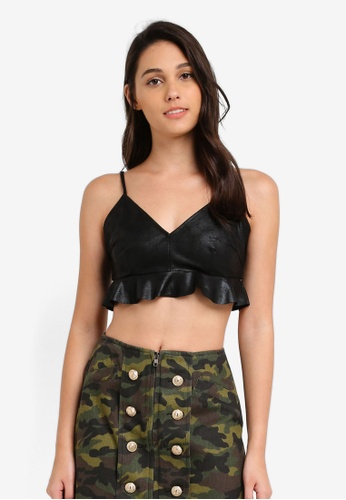 Something Borrowed black Patent Leather Bralette F0990AABADE30DGS_1