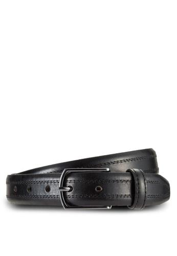 MANGO Man black Stitched Leather Belt MA449AC67CIAMY_1