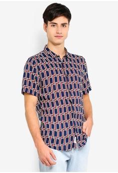 81ee62fb1b3 River Island navy Geo Print Shirt 6CF25AAD815443GS 1