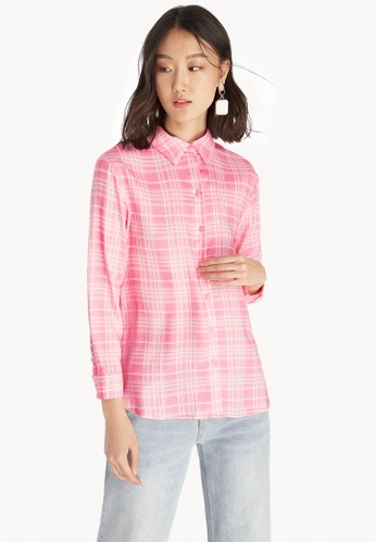627a0889c Shop Pomelo Plaid Buttoned Up Shirt - Pink Online on ZALORA Philippines