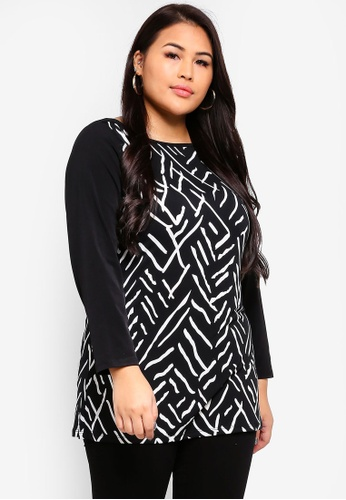 Ex'otico black Plus Size Long Sleeve Printed Top 316B5AAF5DCFD9GS_1
