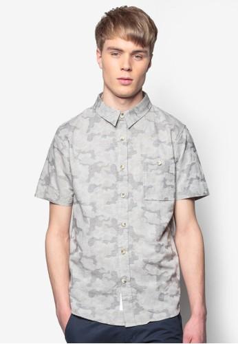 提花迷彩短袖襯衫, 服飾, esprit專櫃印花襯衫