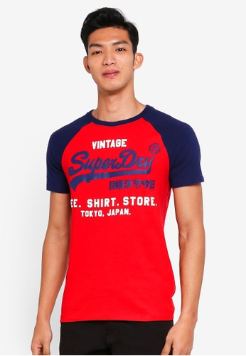 Superdry blue Shirt Shop Duo Raglan Tee 091CCAAC66E13AGS_1