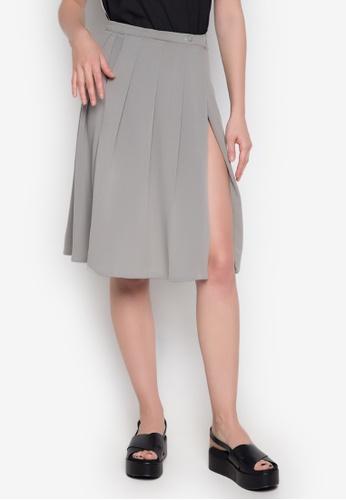 NEW ESSENTIALS grey John Herrera Pleated Skirt NE239AA0JD30PH_1