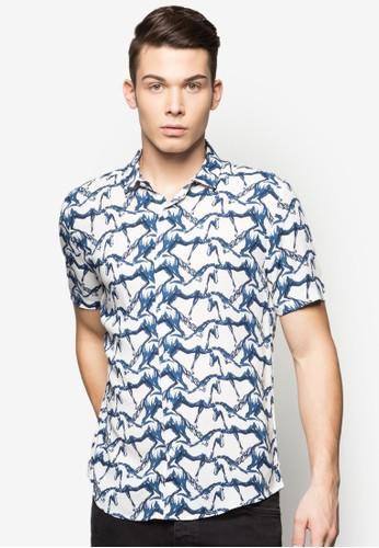 印花休閒短袖襯衫, esprit台灣outlet服飾, 服飾