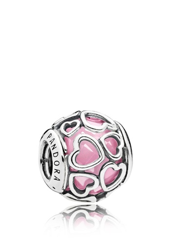 cd779b134 Pandora silver Heart Silver Charm With Faceted Pink Cubic Zirconia  88AD1AC0AA2D50GS_1