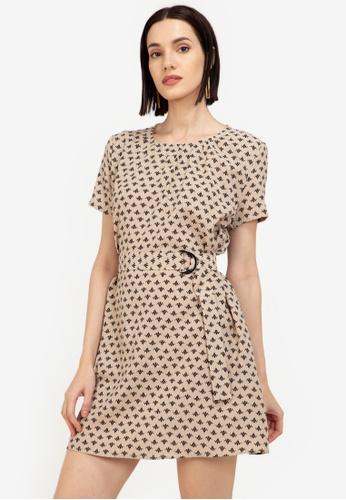 ZALORA WORK multi Short Sleeve A Line Dress With Belt D53CDAABF1230AGS_1