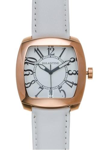 EGLANTINE gold EGLANTINE® Navigo Watch Pink Gold Plated Steel Quartz Watch on white leather strap AF664AC6366BD1GS_1