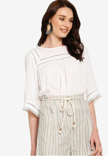 Tula Cruz white Relaxed Blouse With Inserts 29B5CAA2C6574EGS_1