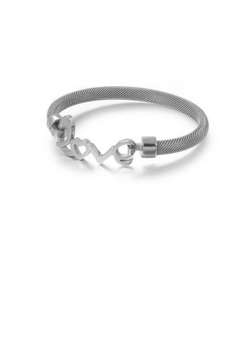 Glamorousky silver Fashion Romantic Love Geometric Round 316L Stainless Steel Bangle F9F1AAC12194D3GS_1