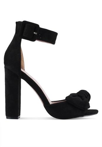 Velvet black Bow Detail Ankle Strap Heels D6B11SH5A92092GS_1
