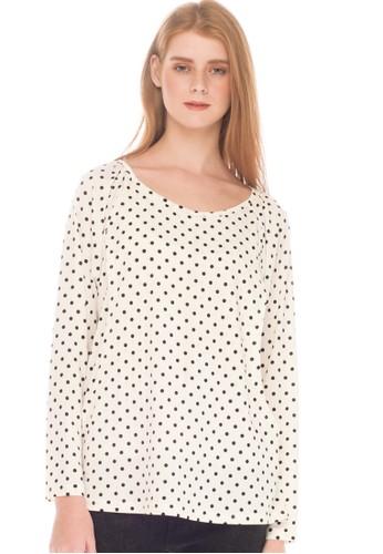 MOOIMOM white MOOIMOM Polkadot Nursing Long Sleeve Top Baju Hamil Menyusui - White 3412CAA95AEAC4GS_1