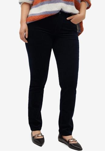Violeta by MANGO navy Plus Size Slim Fit Corduroy Trousers A2852AA8110205GS_1
