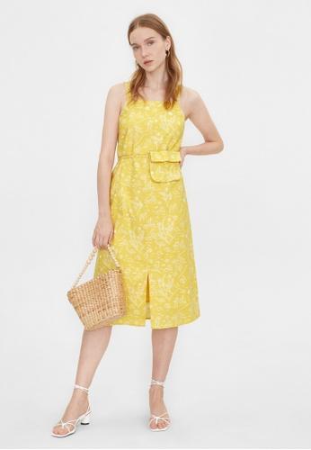 Pomelo yellow Purpose Beach Print Front Slit Dress - Yellow 19E54AA1579DCBGS_1