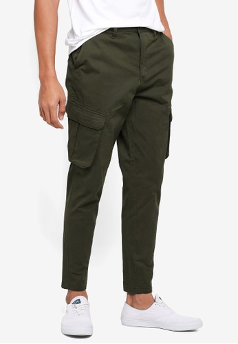 Burton Menswear London green Olive Tapered Fit Stretch Cargo Trousers 5D47DAA739636CGS_1