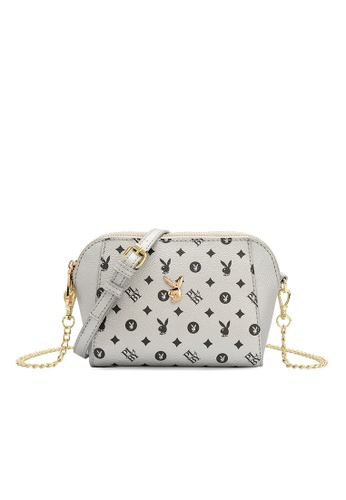 PLAYBOY BUNNY silver Compact Faux Leather Sling Bag 44CE9AC03BAA61GS_1