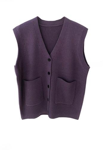 Twenty Eight Shoes purple VANSA Knitted Vest Jacket  VCW-V15856258 CA210AA4DB98ECGS_1
