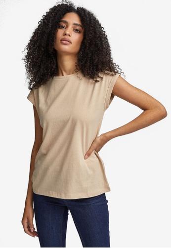 Dorothy Perkins brown Camel Roll Sleeve Shirt A4123AA5152C11GS_1