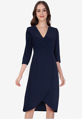 ZALORA WORK navy Wrap Front Tulip Skirt Dress 5BDB9AA9512668GS_1